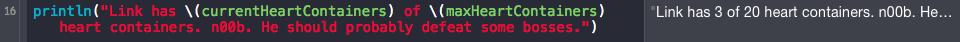 Swift tutorial: string interpolation