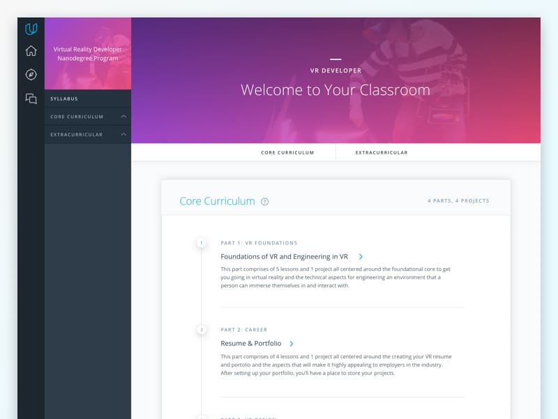 New Udacity Classroom - Syllabus