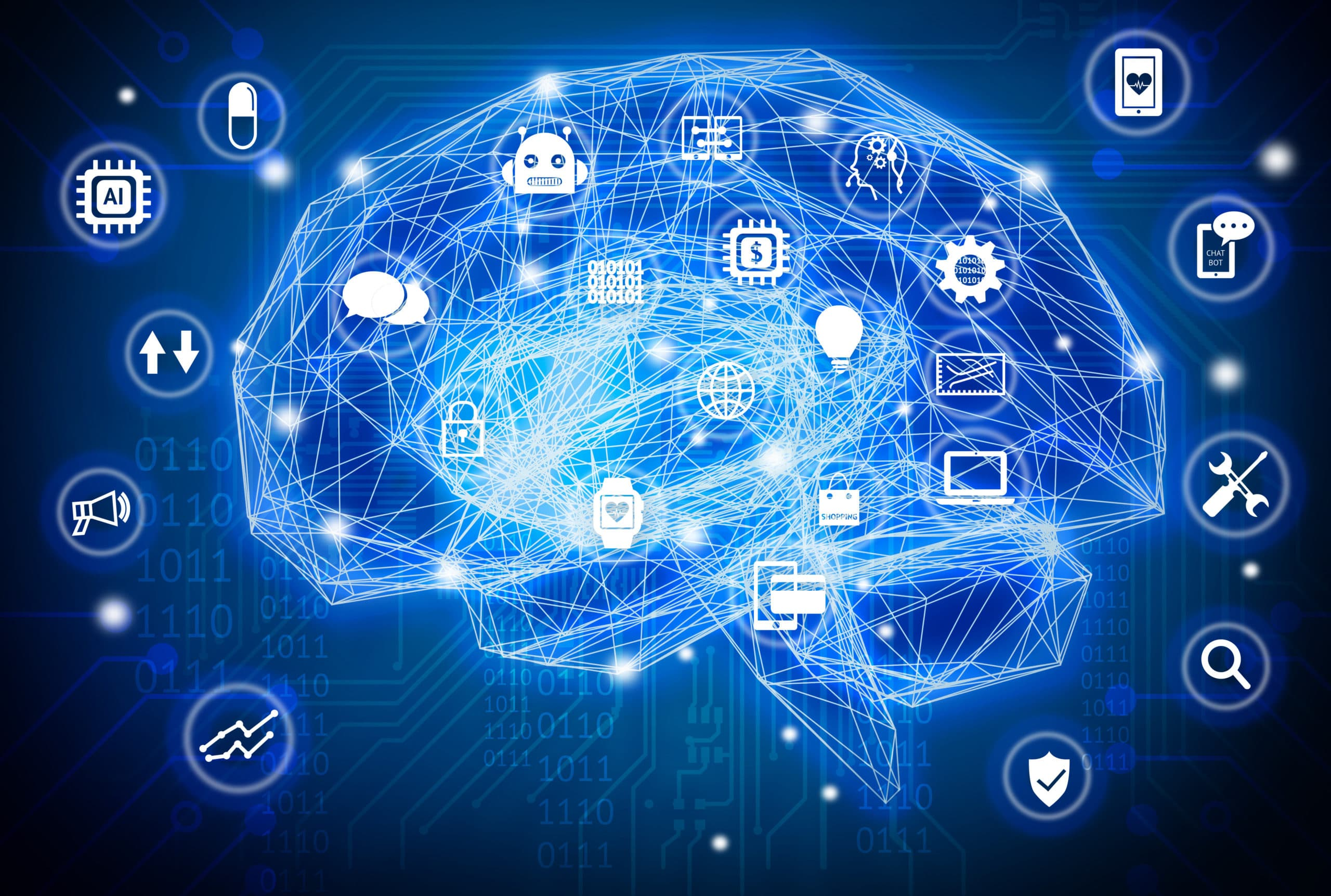 Machine learning , artificial intelligence , ai , deep learning and future concept. Wireframe Brain connect with circuit electronic graphic , binary code and technology icons background. Blue tone